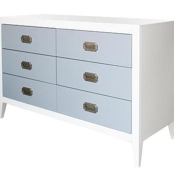 Storage Furniture - Devon Six Drawer Dresser I Annette Tatum Kids - white dresser with blue drawers, white and blue dresser, blue and white hollywood regency style dresser,