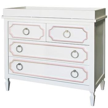 Storage Furniture - Beverly White with Pink Trim Dresser I Annette Tatum Kids - white dresser with pink trim, pink and white hollywood regency style dresser, pink and white hollywood regency style changing table,