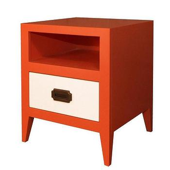 Storage Furniture - Devon Nightstand I Annette Tatum Kids - orange and white nightstand, orange nightstand with white drawer front, modern orange and white nightstand, contemporary orange and white nightstand,