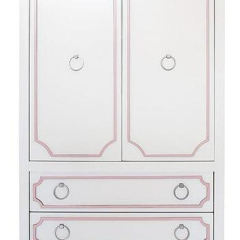 Storage Furniture - Beverly Armoire I Annette Tatum Kids - pink and white armoire, white armoire with pink trim, pink and white hollywood regency style armoire,