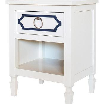 Storage Furniture - Beverly Navy Nightstand I Annette Tatum Kids - white nightstand with navy overlay, white and navy hollywood regency nightstand, hollywood regency nightstand,