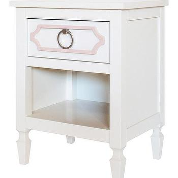 Storage Furniture - Beverly Nightstand I Annette Tatum Kids - white nightstand with pink overlay, white and pink nightstand, hollywood regency nightstand,