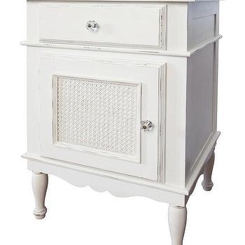 Storage Furniture - Celine Nightstand I Annette Tatum Kids - white nightstand, white cane nightstand, white shabby chic nightstand,