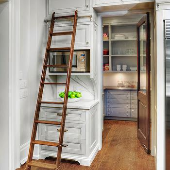 Pantry Ladder, Transitional, kitchen, Benjamin Moore Edgecomb Gray, Braams Custom Cabinets