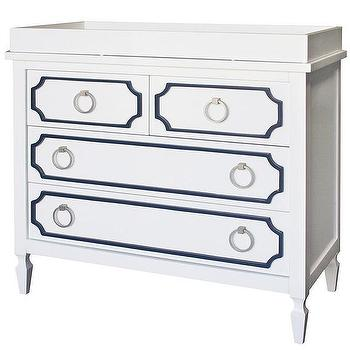 Storage Furniture - Beverly White with Navy Trim Dresser I Annette Tatum Kids - hollywood regency dressser, white dresser with navy trim, white and navy hollywood regency style dresser,