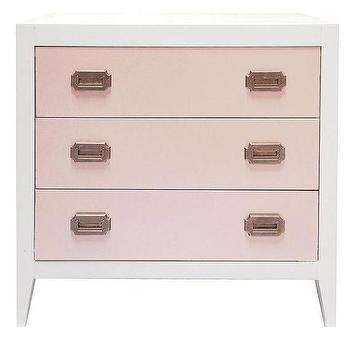 Storage Furniture - Devon Three Drawer Dresser I Annette Tatum Kids - pink and white dresser, white dresser with pink drawer fronts, modern pink and white dresser, contemporary pink and white dresser,