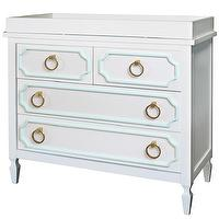 Storage Furniture - Beverly White with Mint Trim Dresser I Annette Tatum Kids - white dresser with mint green trim, white and mint hollywood regency style dresser, hollywood regency style changing table,