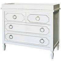 Storage Furniture - Beverly White Dresser I Annette Tatum Kids - white hollywood regency style dresser, hollywood regency style changing table, hollywood regency style dresser with brass ring pull hardware,