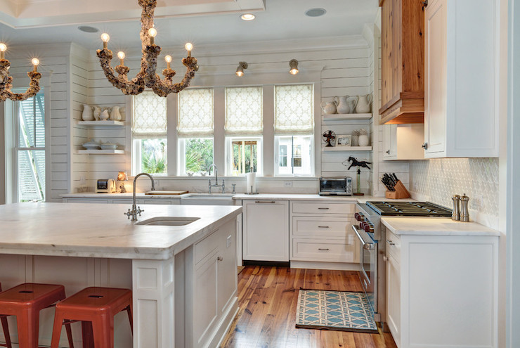Bianco Avion Marble Counters Transitional Kitchen
