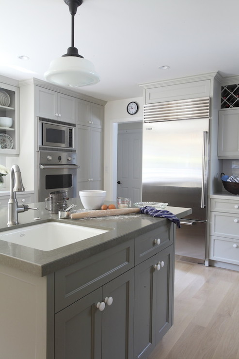 Gray Painted Cabinets Contemporary Kitchen Benjamin Moore Brushed Alumi