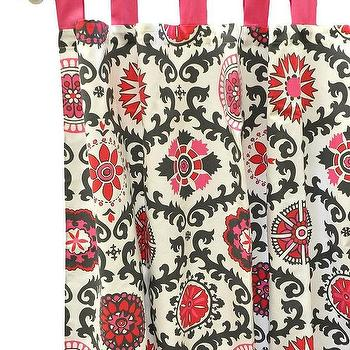 Window Treatments - Ragamuffin in Pink Curtain Panels I New Arrivals Inc - black and pink suzani curtains, black and pink suzani drapes, black and pink suzani curtain panels,