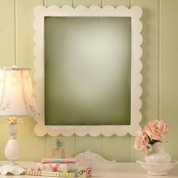 Mirrors - White Scalloped Mirror I New Arrivals Inc - scalloped mirror, white scalloped mirror, scalloped kids mirror,
