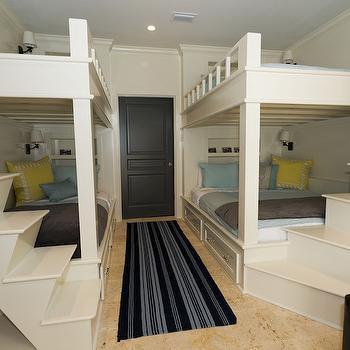 Rice Construction Group - boy's rooms - shared kids room, shared boys room, built in bunk beds, bunk beds, bunk bed steps, bunk bed stairs, bunk bed staircase, mini staircase, bunk bed bedding, yellow and blue bedding, kids bedding, striped blue rug,