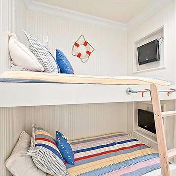 Rice Construction Group - boy's rooms - built in bunk beds, boys bunk beds, built in bunk beds, beadboard trimmed bunk beds, beadboard bunk beds, bunk bed bedding, bunk bed tv, tv niche, bunk bed tv niche,