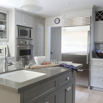 Gray Painted Cabinets, Contemporary, kitchen, Benjamin Moore Brushed Aluminum, Von Fitz Design