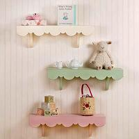 Art/Wall Decor - Shelf for Nursery I New Arrivals Inc - scalloped pink shelf, scalloped green shelf, scalloped ivory shelf, nursery shelf,