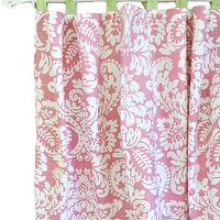 Window Treatments - Pink Damask Curtain I New Arrivals Inc - pink damask curtains, pink damask drapes, pink damask curtains with green ties, pink damask drapes with green ties,