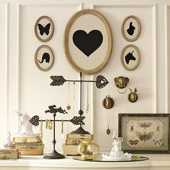 Art/Wall Decor - The Emily + Meritt Silhouette Portrait | PBteen - framed silhouettes, oval framed silhouettes, framed butterfly silhouette, framed heart silhouette, framed unicorn silhouette, framed rabbit silhouette, framed elephant silhouette,