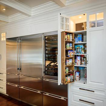 Leslie Ann Interior Design - kitchens - subzero, subzero fridge, subzero refrigerator, integrated refrigerator, integrated freezer drawers, integrated freezer, built in pantry, built in pantry cabinets, pantry cabinets, coffered ceiling, kitchen coffered ceiling, black subway tiles,