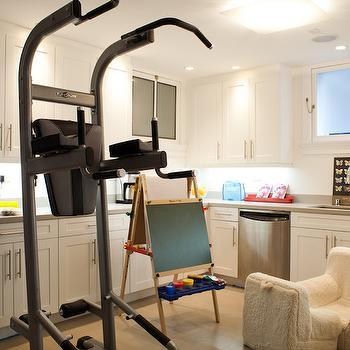 Art Haus - basements - basement kitchen, home gym, basement playroom, basement gym, basement home gym, ikea cabinets, gray countertops,  Basement