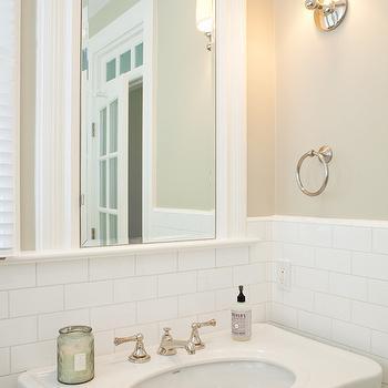 Art Haus - bathrooms: parisian pedestal sink, framed mirror, half tiled wall, subway tiled wall, cafe au lait walls,  Lovely bathroom features