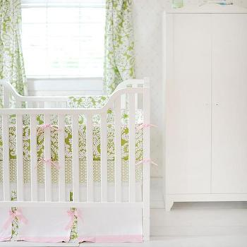 Bedding - Pink and Green Baby Bedding I New Arrivals Inc - pink and green crib bedding, pink and green damask crib bedding, green damask crib bedding with pink ties,