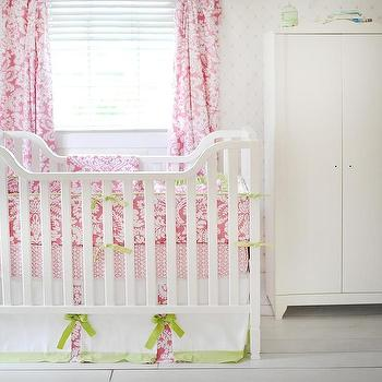 Bedding - Pink and Green Baby Bedding I New Arrivals Inc - pink damask crib bedding, pink and white damask crib bedding, pink damask crib bedding with green ties,