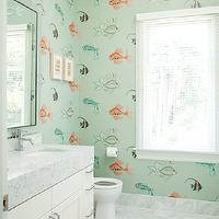 Art Haus - bathrooms - kids bath, kids bathroom, aquarium wallpaper, fish wallpaper, bathroom wallpaper, kids wallpaper, kids bathroom wallpaper, bathroom step stool, kids step stool, thick countertops, thick marble countertops, marble tiled floor,