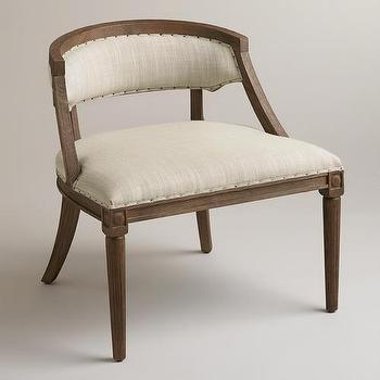 Seating - Natural Herald Chair | World Market - oak and linen chair, traditonal oak framed linen chair, linen chair,