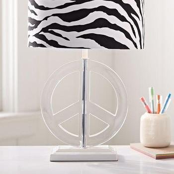 Lighting - Peace Acrylic Lamp Base | PBteen - peace sign lamp base, see through peace sign lamp base, acrylic peace sign lamp base,