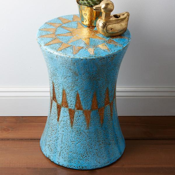 Corcovado Turquoise And Gold Garden Stool Design By Tozai