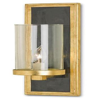 Lighting - Charade Wall Sconce design by Currey & Company I Burke Decor - black and gold wall sconce, black penshell and gold leaf wall sconce, black and gold leaf wall sconce with glass shade,