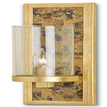 Lighting - Charade Wall Sconce in Tiger Penshell by Currey & Company I Burke Decor - tiger penshell wall sconce, gold leaf wall sconce, gold leaf wall sconce with glass shade,