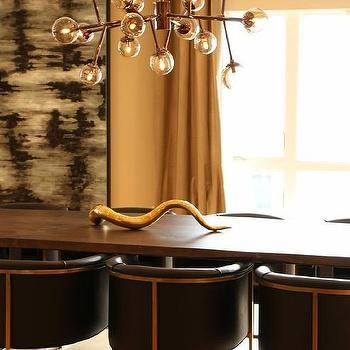 Kenneth Byrd Design - dining rooms: Mid-Century Modern, Arteriors Calvin Chair, Arteriors Dallas Chandelier, Jonathan Adler Giant Brass Horn, live edge dining table, dining room, brass, brown nickel, abstract art, drapery, serpentine, curve, strong lines, penthouse,