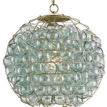 Lighting - Averette Pendant design by Currey & Company I Burke Decor - recycled glass pendant, blue recycled glass ball pendant, encased glass balls in gold orb shaped pendant, blue glass ball pendant,