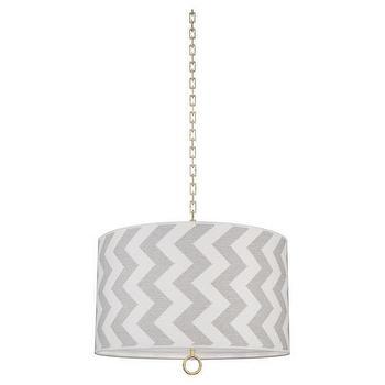 Lighting - Jonathan Adler Large Pendant in Limitless Smoke I Burke Decor - gray and white chevron drum pendant, gray and white zigzag drum pendant, gray and white zig zag drum pendant,
