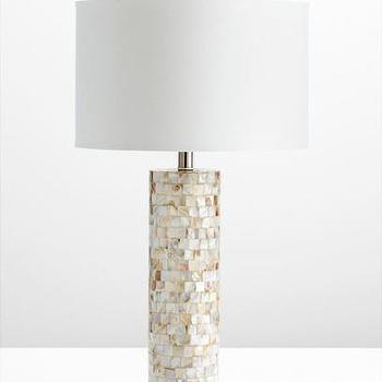 Lighting - West Palm Table Lamp design by Cyan Design | Burke Decor - mother of pearl table lamp, mother of pearl lamp, mother of pearl lamp with white shade,