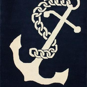 Rugs - High Seas Hand-Tufted Area Rug in Navy design by NuLoom I Burke Decor - navy blue anchor rug, anchor print rug, navy blue and white anchor rug,