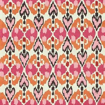 Rugs - Karachi Collection Area Rug in Bright Pink design by NuLoom | Burke Decor - pink and orange rug, pink and orange graphic rug, pink and orange ikat style rug,
