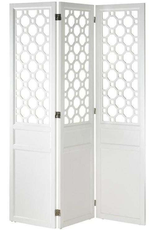 Art/Wall Decor - Port Allen Screen | HomeDecorators.com - white wall screen, white geometric wall screen, white geometric room divider,
