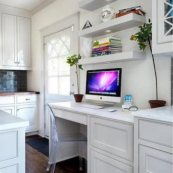 Chupik Properties and Design - kitchens - kitchen desk, built in desk, kitchen office, desk in kitchen, chunky floating shelf, shelves over desk, shelf over desk, shelf above desk, shelves above desk, ghost side chair,