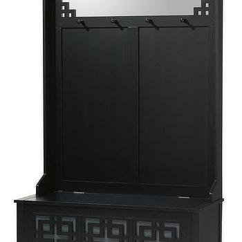 Storage Furniture - Knot Hall Tree Storage Bench | HomeDecorators.com - black storage bench, black storage bench with coat hooks, black geometric storage bench, black fretwork storage bench with coat hooks,