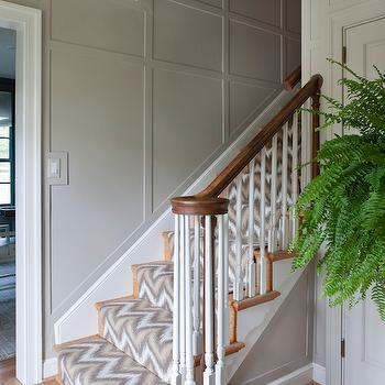 Roxanne Lumme Interiors - entrances/foyers - gray wall panels, gray paneling, gray wall paneling, ikat stair runner, yellow and gray stair runner,
