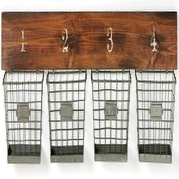 Art/Wall Decor - Wooden Wall Bracket with Wire Baskets | HomeDecorators.com - wire wall baskets, numbered wire wall basket, numbered wire wall storage, wire wall storage,