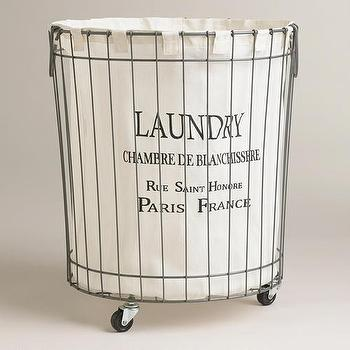 Decor/Accessories - Claudette Wire Hamper | World Market - laundry hamper, wire laundry hamper, french laundry hamper, wire laundry hamper on castors,