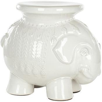 Seating - Elephant Garden Stool | HomeDecorators.com - elephant garden stool, white elephant garden stool, white ceramic elephant stool,