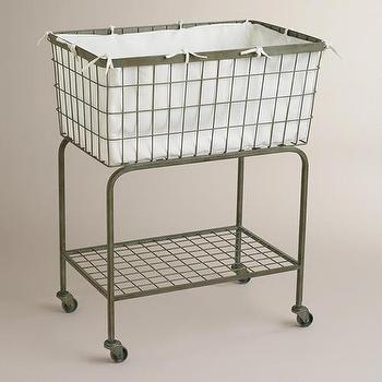 Decor/Accessories - Ellie Rolling Laundry Cart | World Market - rolling laundry cart, wire laundry cart, rustic laundry cart, laundry cart on casters,