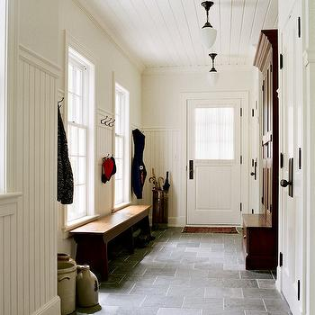 Jan Gleysteen Architects - laundry/mud rooms - slate tiles, slate floor, slate tile floor, mudroom, mud room, beadboard ceiling, mudroom beadboard ceiling, mudroom beadboard, beadboard walls, beadboard paneling, mudroom beadboard paneling, mudroom bench, cabinet with bench, vintage pendnats, vintage light pendants,