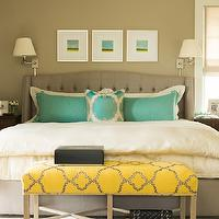 Nifelle Design - bedrooms - Ralph Lauren - Hopsack - kind bed, gray king bed, light taupe walls, light taupe paint colors, art over bed, yellow and blue art, bed sconces, swing arm sconces, turquoise shams, scalloped shams, gray bed, gray tufted bed, yellow bench, bench at foot of bed, yellow and gray bedroom, chanel bag, lambskin chanel bag,