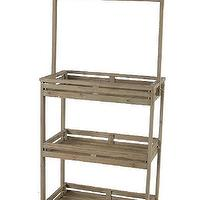Storage Furniture - Three-Tier Shelf with Blackboard I HomeDecorators.com - storage shelf with blackboard, three tier shelf with blackboard, rustic shelves with blackboard,